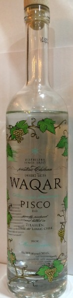 WAQAR 40% Pisco Chilien, cépage Muscat, Vallée sauvage de Tulahuén, Chili, 70cl